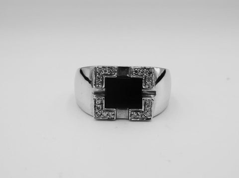 9ct White Gold Heavy Weight Men's Rectangle Onyx 0.20ct Diamond Ring Size S 8.2g