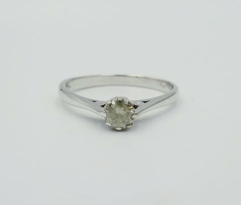14ct White Gold 0.20ct I1 Smooth Diamond Claw Set Quality Ladies Ring Size N 2g - Richard Miles Jewellers