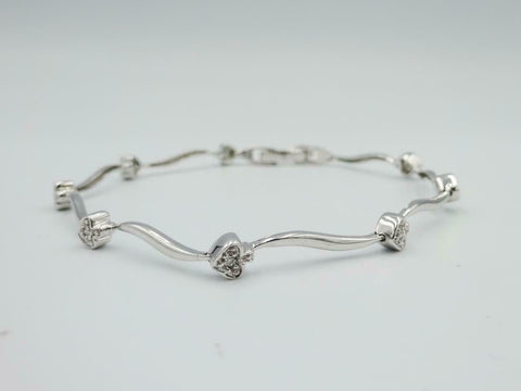 9ct White Gold Ladies Heart 375 0.07ct Diamond  Bracelet 7inch 4.5g 4.2mm - Richard Miles Jewellers