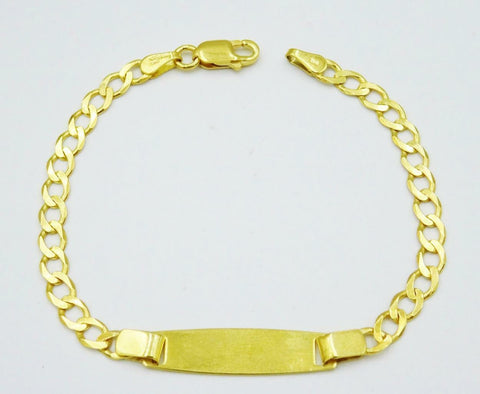 9ct Yellow Gold Baby Childs ID Engravable Bracelet 3g 6 inch