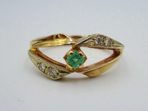 14ct Yellow Gold Ladies Fancy Emerald Diamond Ring 0.08ct Size L 3.3g - Richard Miles Jewellers
