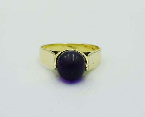 14ct 585 Yellow Gold Purple Rotating Ball Ladies Dress Ring Size M 1/2 3.3g - Richard Miles Jewellers