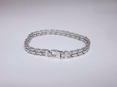 9ct Unisex White Gold Fancy Heavy Bracelet 7.5 inches 21.9 Grams