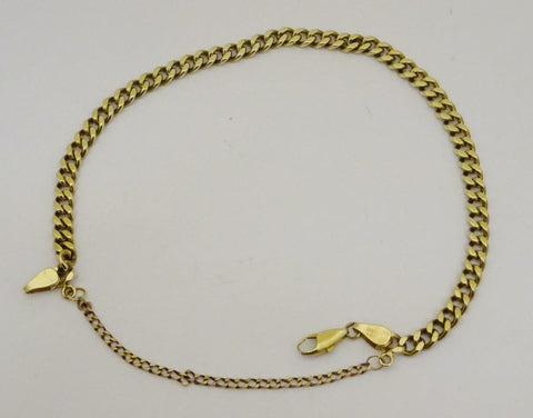 9ct Gold Curb Bracelet Fitted With Safety Chain 5mm 9inch 14g