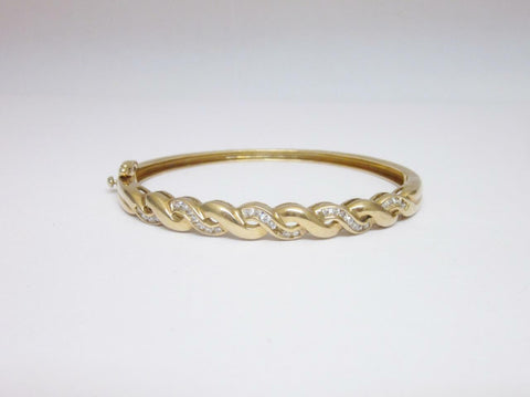 Brand New 9ct Yellow Gold Ladies Channel Set Diamond 0.50ct Bangle 14.9g 7inch - Richard Miles Jewellers