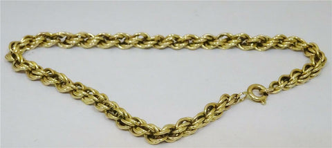 9ct Yellow Gold Rope Bracelet 7 inch 2.6g
