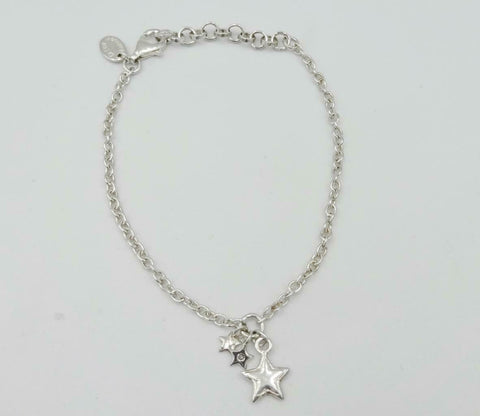 D For Diamond Kids Silver Triple Star Charm Girls Bracelet 6.5inch 2.6g Z696