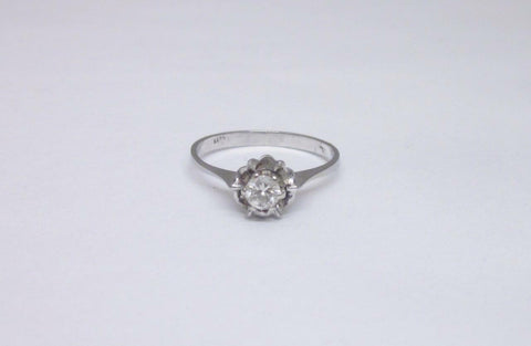 18ct White Gold Vintage Rose Setting 0.20ct Diamond Ring Size L