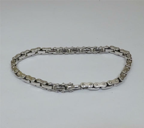 9ct White Gold Bicycle Chain Bracelet 8.5 inch 22.70g