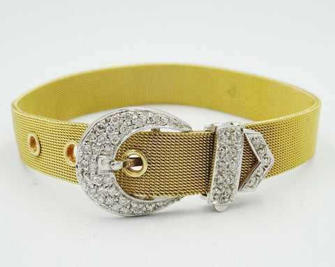 "9ct Two Colour Gold 0.40ct Diamond Encrusted Belt Buckle Mesh Bracelet 6""-7"" 21g"