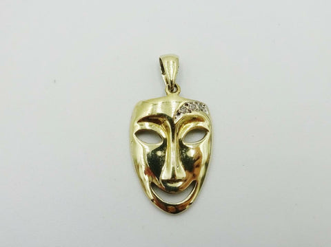 9ct Gold 375 Hall Marked Diamond 0.04ct Face Mask 2.6g 21mm x 15.6mm x 2.15mm - Richard Miles Jewellers