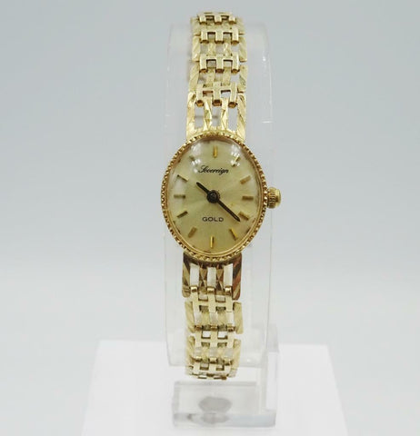 9ct Yellow Gold Oval Face Vintage Ladies Sovereign Watch 17mm Quartz 10.2g 7inch