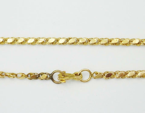 14ct Yellow Gold Fancy Turkish Style Foldover Clasp Chain 10.3g 27inch 2.7mm