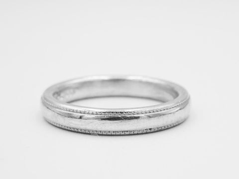 18ct 750 White Gold Ladies Millgrain Wedding Band 3mm Size K 4.7g - Richard Miles Jewellers
