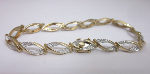 9ct Yellow Gold Diamond Ladies  Dress Bracelet 7.0 Inches