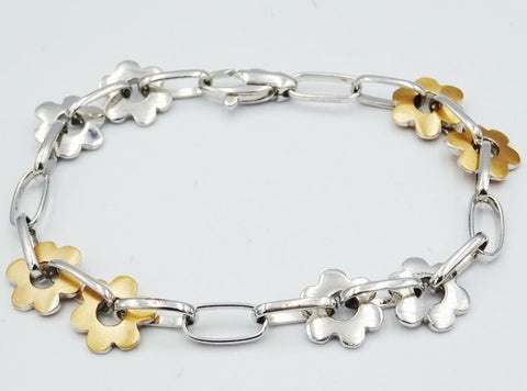 18ct Two Colour White Rose Matt Gold Stylish Daisy Flower Bracelet 7.5inch 17.7g