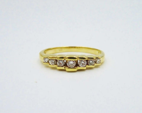 9ct Yellow Gold Ladies Half Eternity Step 0.20ct 4mm Diamond Ring 1.9g Size K