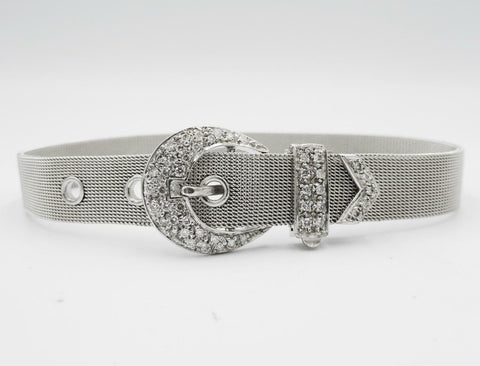 "9ct White Gold 0.40ct Diamond Set Belt Buckle Mesh Ladies 7""-8.4"" Bracelet 23.3g"