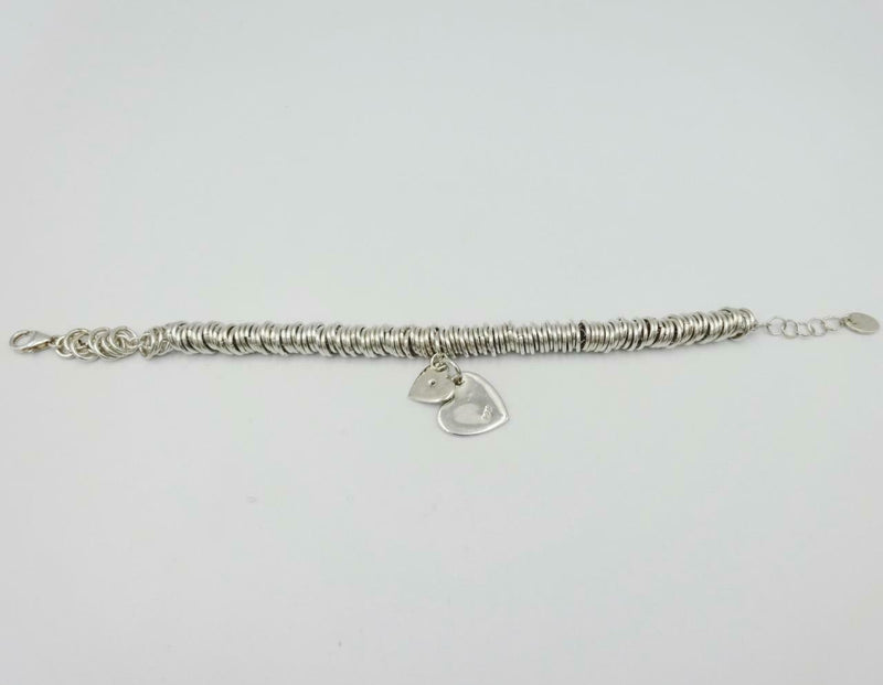 D For Diamond Silver Double Heart Round Sweetie Bracelet B3099 6.75inch 17g - Richard Miles Jewellers