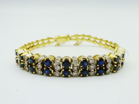 18ct Gold Sapphire Vintage 0.54ct Diamond Bracelet Safety Chain Pin 5.5inch 15g