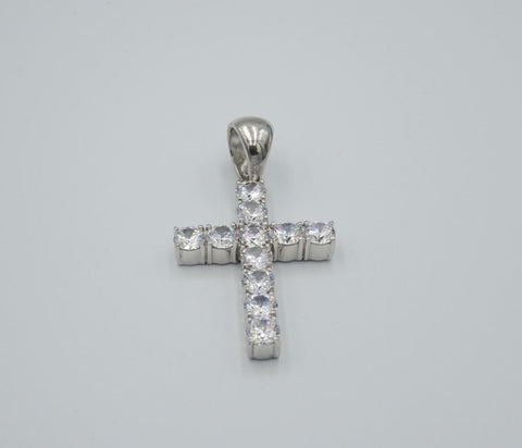 Sterling Silver 925 CZ Stone Large Unisex Cross Pendant 16.5g 42mm