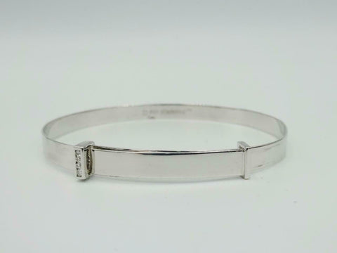 D For Diamond Kids 9ct White Gold Diamond Bangle 4g 5.5inch-6.5inch GB235