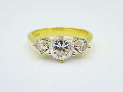 14ct Yellow Gold Cubic Zirconia 3 Trilogy Stone Heavyweight Ladies Ring 3.7g O - Richard Miles Jewellers