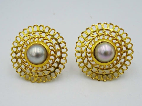 14ct Yellow Gold Ladies Cultured Pearl Large Dark Pearl Earrings 6.25g 23mm - Richard Miles Jewellers