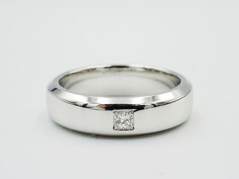 14ct White Gold Bevelled Edge 0.05ct Diamond Set Men's Wedding Band 7g N 5mm - Richard Miles Jewellers