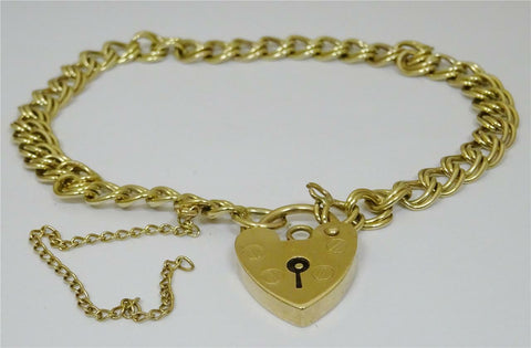 9ct Yellow  Gold Double Link Charm Bracelet with Heart Lock 7 inch 7.5g