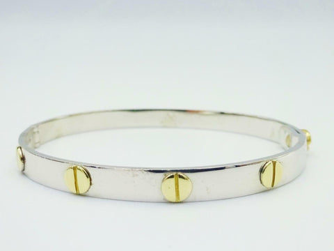9ct White Yellow Gold 375 Childrens Screw Love Design Bangle 5inch 9.7g RRP £390