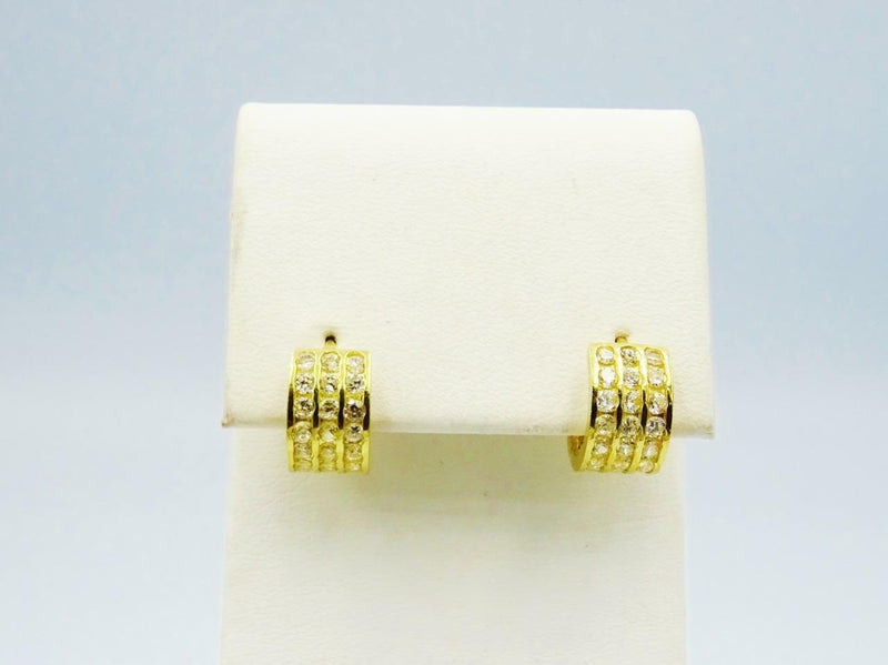 9ct Yellow Gold Small 3 Row CZ Cuff Huggie Ladies Earring 6.8mm 1.4mm - Richard Miles Jewellers