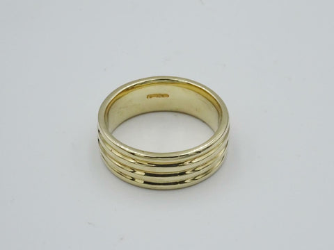 9ct Gold Ladies Ribbed 4 Lines Wedding Band 5mm Size O 5.2g