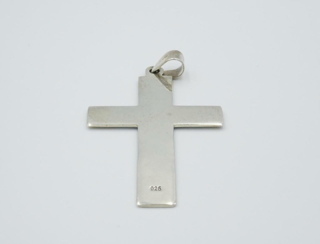 Sterling Silver 925 Large Mens Wide Plain Cross 8.2g 55mm - Richard Miles Jewellers