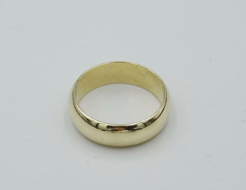 9ct Yellow Gold D Shaped 375 Wedding Band Ring 6mm 4.7g Size O