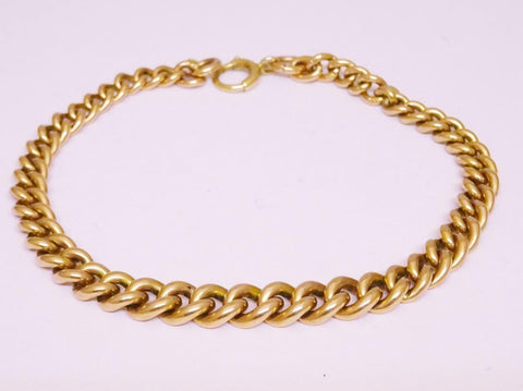 9ct Rose Gold Vintage Graduated Ladies Curb Bracelet 7.75inch 16.2g