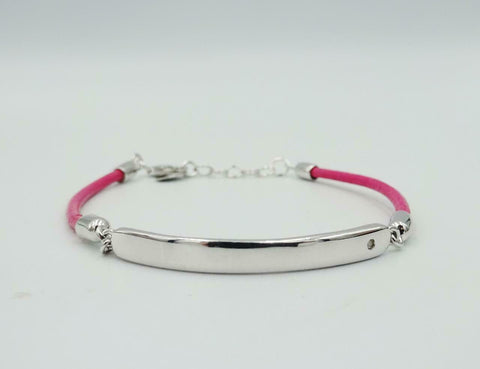 Sterling Silver 925 Heart Pink Leather Girls ID Bracelet 5.5inch 4mm B4785