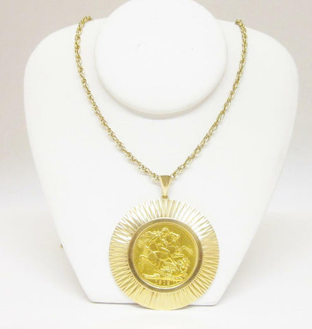 22ct Yellow Gold 1912 St George Pendant With 9ct Gold Fancy 24 Inch Chain 18g - Richard Miles Jewellers