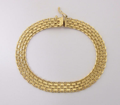 9ct Yellow Gold Flat 3 Row Fancy Link Bracelet 10.3 Grams