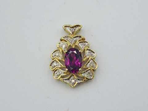 10ct Yellow Gold Oval Purple Stone and Diamond Fancy Leaf Pendant 1.6g