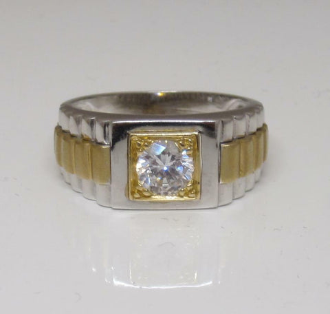 14ct 2 Colour White and Yellow Gold With White Stone Ring Size S 1/2 8g - Richard Miles Jewellers