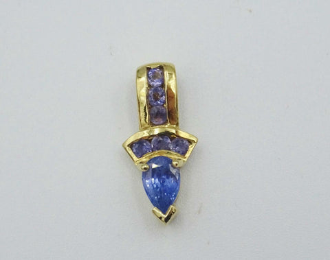 10ct Gold Ladies Blue Stone Unique Pear Shaped Pendant 1.1g - Richard Miles Jewellers