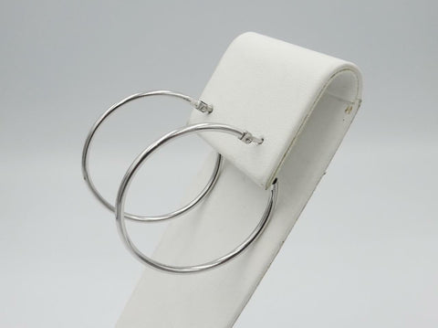 18ct White Gold 750 Stamped Medium Smooth Ladies Hoop Style Earrings 36mm - Richard Miles Jewellers