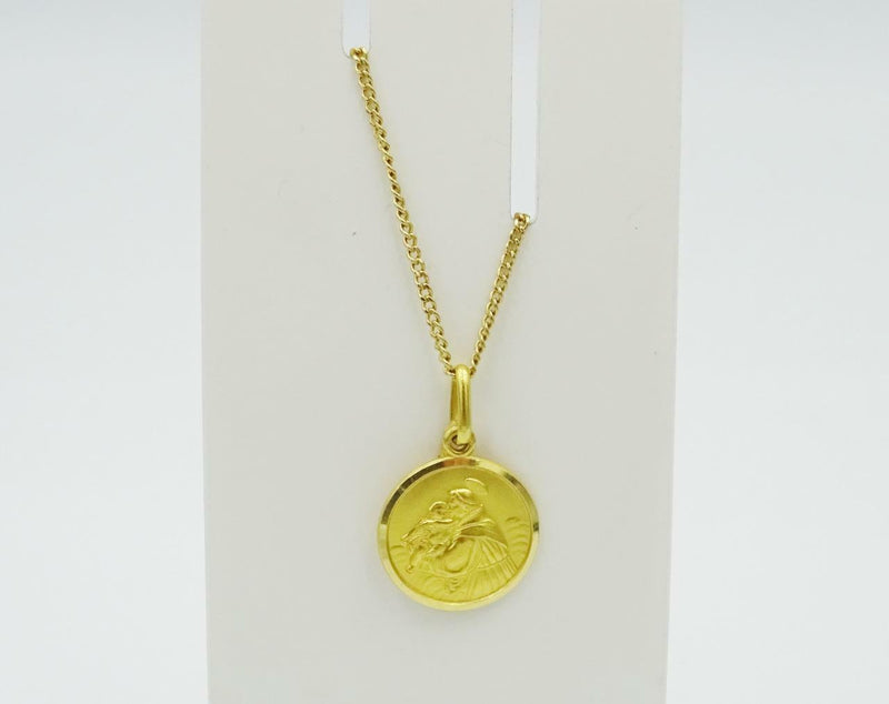 18ct Gold Fine Curb Chain 18ct Gold Saint Anthony Pendant 26inch 6.4g 14mm - Richard Miles Jewellers