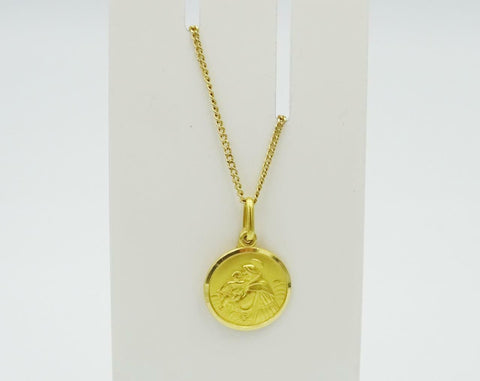 18ct Gold Fine Curb Chain 18ct Gold Saint Anthony Pendant 26inch 6.4g 14mm