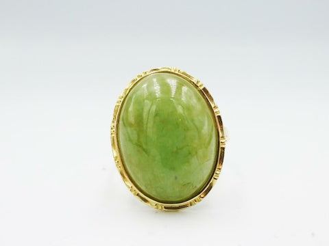 14ct Yellow Gold Large Jade 22mm Cabochon Ladies Ring 6.2g Size W - Richard Miles Jewellers