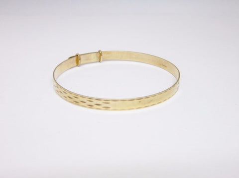 9ct Yellow Gold Large Childs Expandable Bangle 5.02mm 6.8g