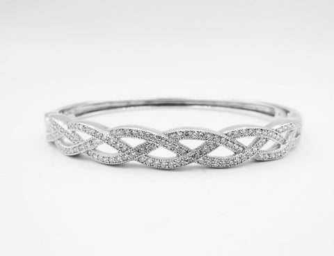 Sterling Silver 925 Real Effect CZ Cluster Hinge Bangle 6.5inch RE16724 RRP £195 - Richard Miles Jewellers