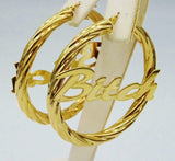 9ct Gold 375 Hall Marked 'BITCH' Ladies Twist Hoop Earrings 4.5mm 48mm 10.7g