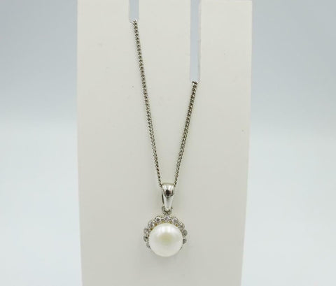 Sterling Silver Fresh Water Pearl CZ 7mm 925 Ladies 16inch Pendant 3g - Richard Miles Jewellers